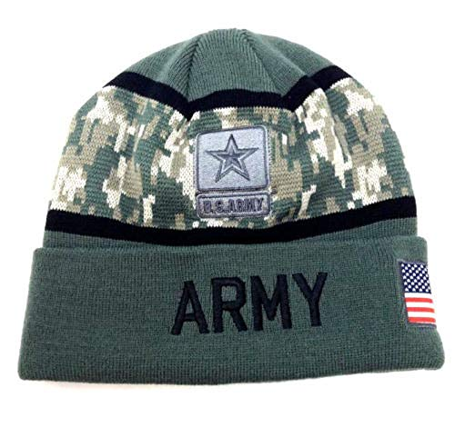 Knit Hat Reversible Winter - Icon Sports Group Inc. U.S. Armed Forces Military Camo/Solid Beanie Hat Winter Ski Cap (Army Cuffed - Green/Camo)