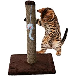 Mr. Peanut's Couch Saver Cat Scratching Post for Smaller Cats and Kittens, Durable Sisal Material Keeps Kitten Claws Active & Protects Your Furniture (Brown)