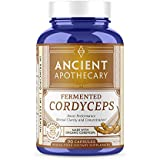 Ancient Apothecary Fermented Cordyceps Mushroom Supplement, 90 Capsules — Infused with Organic Essential Oils, Ashwagandha Extract and Digestive Bitters