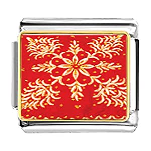 Chicforest Gold Plated Embroidered Red Cloth Bracelet Link Photo Italian Charms
