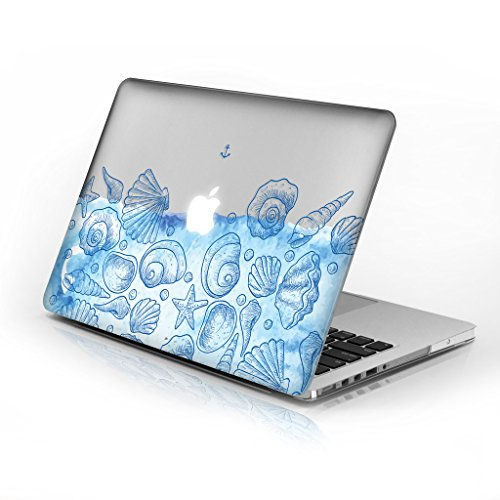 Rubberized Hard Case for Macbook Air 11 Inch model number A1370 and A1465, Seashells design with clear bottom case, Come with Keyboard ()