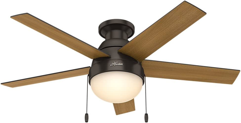 Hunter Indoor Low Profile Ceiling Fan with light and pull chain control