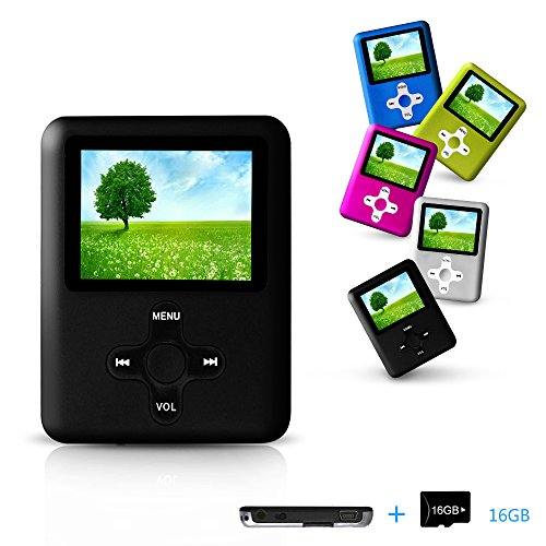 Lecmal Portable MP3/MP4 Player with 16GB Micro SD Card Mini
