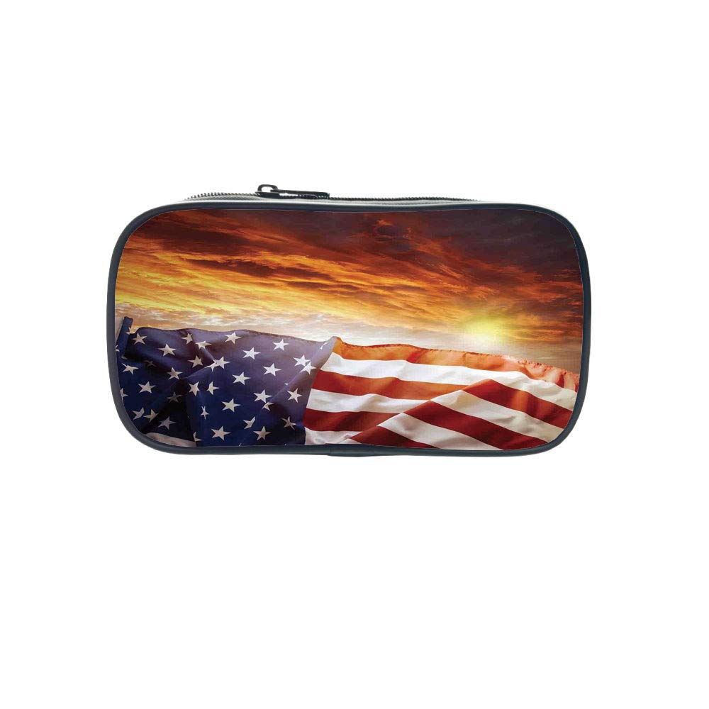 Customizable Pen Bag,American Flag Decor,Flag in Front of Sunset Sky with Horizon Light America Union Idyllic Photo,Multi,for Kids,3D Print Design