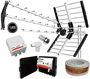 Kit Antena TECATEL BKM-18 Negra + Rollo Cable TELEVES DE 20MT ...
