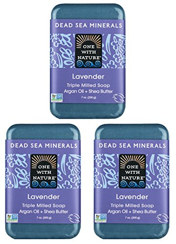 Skin Glow About All (DEAD SEA SALT Lavender Mineral SOAP 3 Pk - Shea Butter, Argan Oil, Magnesium, Sulfur. All Skin Types, Problem Skin. Acne Treatment, Eczema, Psoriasis, Therapeutic, Natural Lavender Scent, 7 oz Bars)