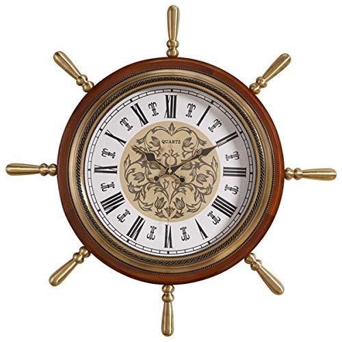 ll Clock, Retro European Style Living Room, Metal Solid Wood Ship, Helmsman Diameter 60 cm, Roman Numerals ()