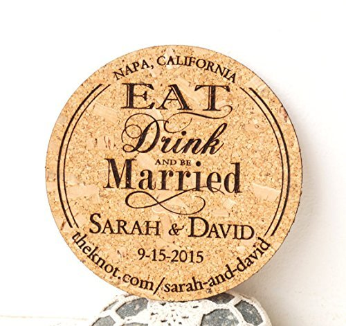 (Rustic wedding save the dates, save the date cork coasters or magnets, personalized laser engraved)