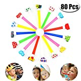 PartyYeah 80 Pcs 4.3Inch Funny Party Blowouts Blowers-Noisemakers Whistles for New Year Party Birthday, Random Colors Multicolored Funny Party Supplies