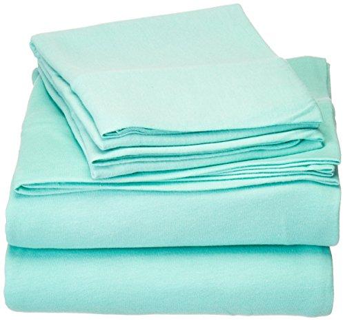 Jersey Knit Cotton Sheets (Intelligent Design ID20-695 Cotton Blend Jersey Knit Sheet Set Twin Aqua,Twin)