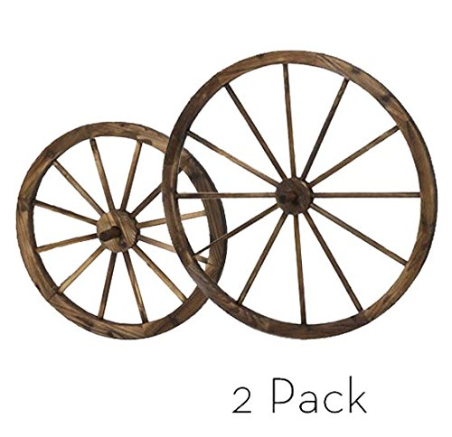 2 Pack Steel-rimmed Wooden Wagon Wheels (1pc 24 in + 1pc 36 in), Wall Decor Product SKU: PL51920 (Wheel Wall Wagon)