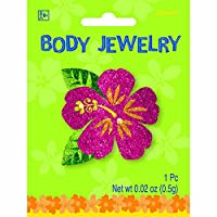 "Hawaiian Summer Luau Party Glitter Hibiscus Body Jewelry Favour, Glitter, 2"" x 2"""