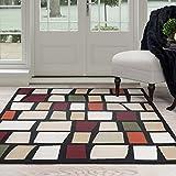 Lavish Home Contemporary Color Blocks Area Rug, 8′ by 10′, Multicolor