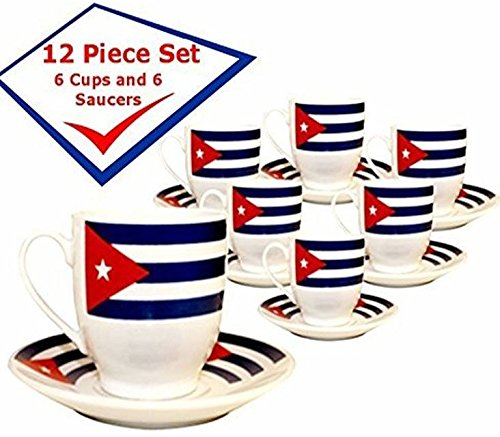 Cuban FlagDemitasse Coffee Cups. Set of 6 cups and 6 saucers. 2.5 ounces each Cubano Set