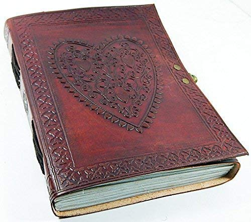 Leather Journal Heart Engraved Handmade Writing Notebook 7 x 5 Inches Unlined Paper, Brown Antique Leather Bound Daily Diary Notepad for Men & Women Gift ()