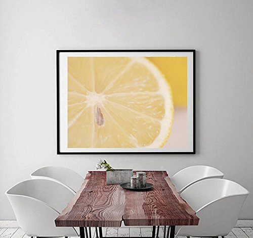 Kitchen Art Wall Decor, Modern Food Photography, Fruit Abstract Art, Lemon Picture, Dining Room Wall Decor, Yellow and White Kitchen Artwork by Natural Photography Spa