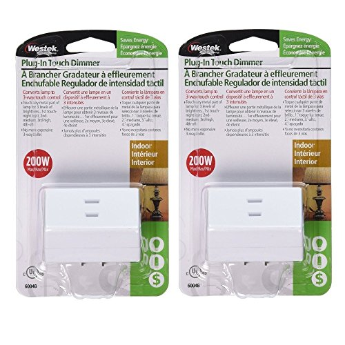 Westek Touch Lamp Control Dimmer Switch, 2 Pack - Small Plug-In Device Converts Lights to Touch Lamp, 3 Way Switch - No Wiring, Easy to Install, Ideal for Floor, Bedside ()
