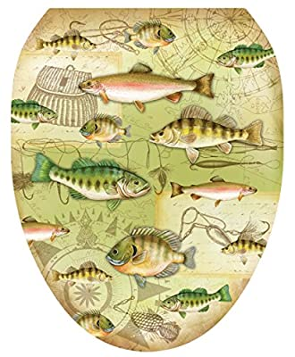 Toilet Tattoos, Toilet Seat Cover Decal,Gone Fishing, Size Elongated