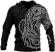 Fenrir Wolf Hoodies, Men Novelty 3D Tattoo Print Long Sleeve Sweatshirts Pullover Jacket with Pocket