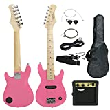 Smartxchoices 30'' Kids Girls Pink Beginner Electric Guitar with 5W Amp,Gig Bag,Strap, Cable,Picks,Wrench,Strings Guitar Combo Accessory Kit