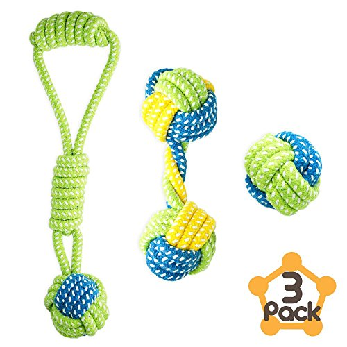 Petagon Puppy Toys, Dog Toys for Small Dogs (3 PCS Value Pack) - Tough & Durable Dog Rope Toys, Interactive Ball and Tug Toys for Boredom, Chew Toys for Teething Dogs and Puppies Under 15 KG by Petagon