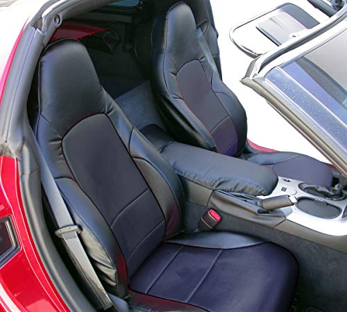Iggee 2005-2013 Chevy Corvette C6 Artificial Leather Custom Made Original fit Front Seat Covers (Black) (Custom C6 Corvettes)