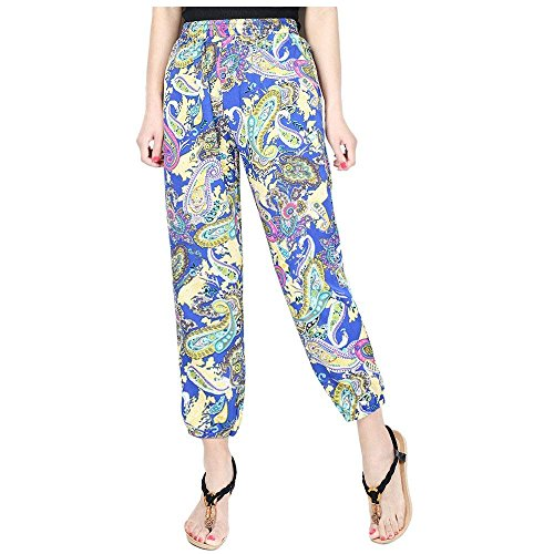 Pluderhose Harem Basic 4 Estivi Tempo Vintage Spiaggia Stampa Colore Fashion Donna Waist Accogliente Pantaloni Eleganti Fiore Sciolto Boho Ragazza High Libero q8w7qRT