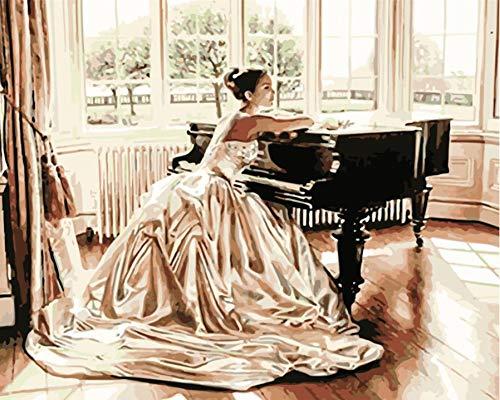 SJWSJW Figura de Falda de niña de Piano Pintura por números Figura ...