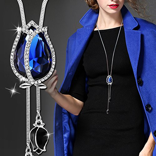 Gemini_mall® Fashion Sweater Chain Sapphire Blue Tulip Flower Pendant Necklace Long Jewelry for Women Jewelry Gift (Sapphire Blue)