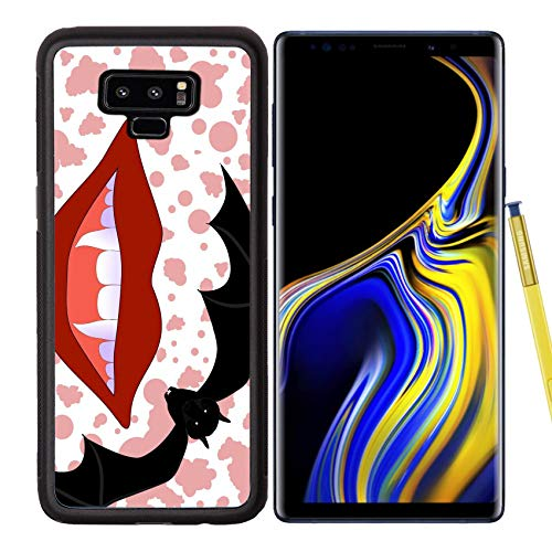 Luxlady Samsung Galaxy Note 9 Case Aluminum Backplate Bumper Snap Cases Image ID: 32699135 Vector Halloween Background with Smiling Vampire Lips and Sticking Out f]()