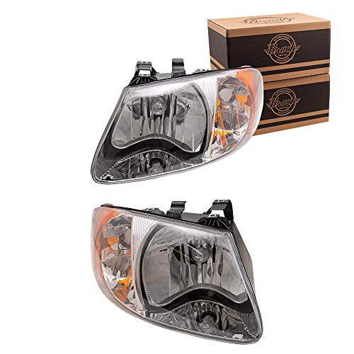 Driver and Passenger Headlights Headlamps Replacement for 2001-2007 Caravan Town & Country Van 4857701AC 4857700AC