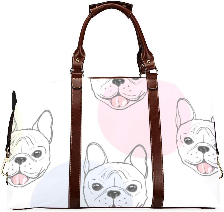 Dog French Bulldog Travel Duffel Bag Luggage Totes for Weekend Trip