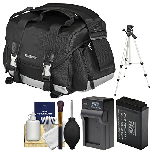 Canon 200DG Digital SLR Camera Case - Gadget Bag LP-E17 Battery & Charger + Tripod + Cleaning Kit Rebel SL2, T6s, T6i, T7i, EOS 77D by Canon