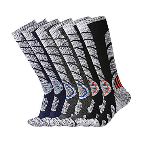 (XIKUN Ski Socks Men Women Warm Skiing Socks High Performance Outdoor Winter Sport Socks (Assortment Black X 1 Pair,Dark Grey X 1 Pair,Dark Blue X 1 Pair))