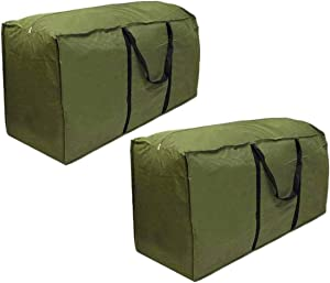 2 Pack Patio Cushion/Cover Waterproof Outdoor Cushion Storage Bag Rectanglar with Zippers and Handles 68L x 30W x 20H Inch Cover Garden Furniture Storage Bag Green