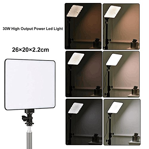 VILTROX 30W Dimmable Bi-color LED Video Light Panel VL-200T, 2450Lux LED video lighting,120° wider lighting for Studio, Youtube, Photography, Video Shooting, (with remote controller) by VILTROX