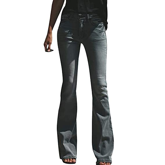 cdefd7e34290 Mxssi Frauen Ausgestellte Jeans Lange Hosen Elastische Hohe Taille ...