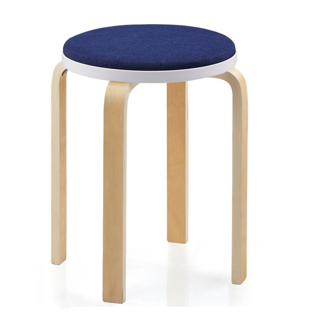TangMengYun Simple Cloth Solid Wood Round Stool, Stool Can Be Stacked, Simple Dressing Stool Sofa Stool for Shoe Stool Meal Stool -33 47cm (Color : Dark Blue, Size : 3347cm)