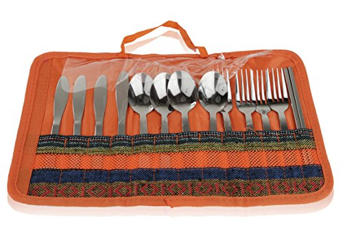 13-Piece-Stainless-Steel-Family-Cutlery-Picnic-Utensil-Set-with-Travel-Case-for-Camping-Hiking-BBQs-Includes-Forks-Spoons-Knifes-Chopstick-Plus-Nylon-Commuter-Case