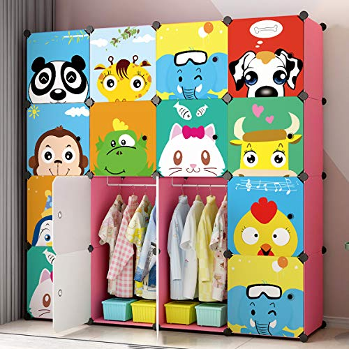 Blue Storage Armoire - MAGINELS Children Wardrobe Dresser Portable Closet Bedroom Armoire Clothes Hanging Storage Rack Cube Organizer Large Blue Pink (Pink, Pink 12 Cube & 2 Rod)