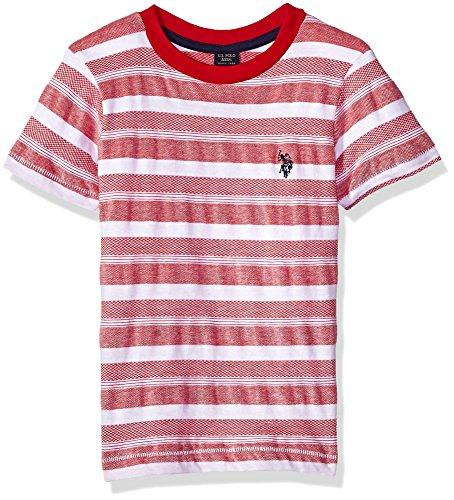 U.S. Polo Assn. Boys' Toddler Short Sleeve Fancy Crew Neck T-Shirt, Novelty Stripes Engine red, 3T