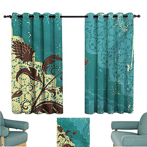 DONEECKL Exquisite Curtain Vintage Flower Arrangement Lacework Old Aged Distressed Antique Display Noise Reducing Curtain W63 xL63 Teal Pale Yellow Dark Brown (Red Gold Teal Brown Cd)