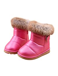 Winter Snow Boots Outdoor Fashion Warm Fur Boots with Velcro Girls(Toddler/ Little Kid)