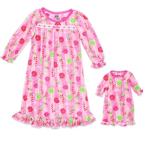 Girls Fleece Granny Gown Nightgown Pajamas With