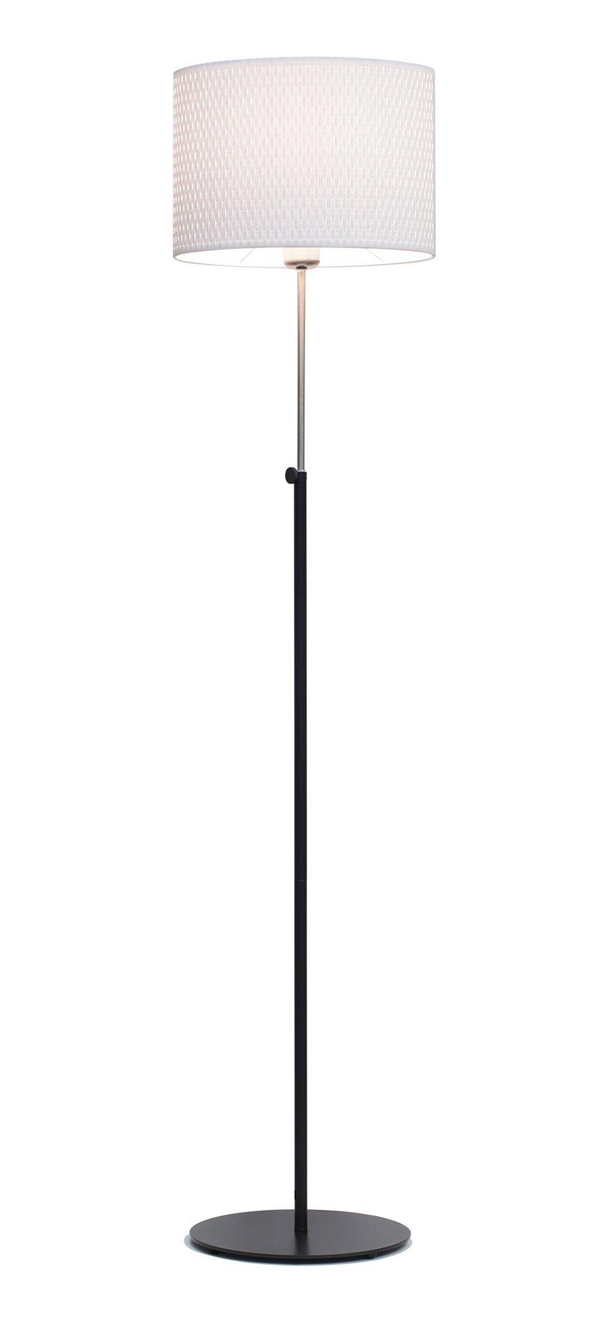 Revel Hampton 62.5'' Minimalist Floor Lamp + White Woven Oval Paper Shade, Adjustable Height, 2-Tone Finish: Brushed Nickel + Black
