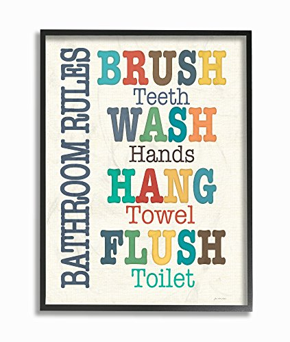 "The Stupell Home Decor Collection Colorful Bathroom Rules Typog Art, 16"" x 20"", Framed Giclee"