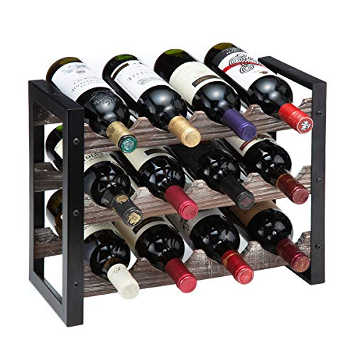 J JACKCUBE DESIGN Rustic Wine Rack Freestanding Floor 3 Tier Stackable Display Storage for Counter-top 12 Glass Bottles Holder Liquor Shelf with Black Metal Frame – MK521A(Rustic Wood)