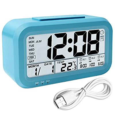 "Digital Alarm Clock, Backlight LCD Morning Clock Travel Alarm Clock with 3 Alarms Thermometer Calendar Large Display Smart Nightlight Soft Light Snooze, Battery Operated with USB Charger (Blue) - ▶SMART LCD DIGITAL ALARM CLOCK - 4.3"" x 2"" large display, bold typeface, big numbers display time, Clock, Night light, Snooze, Alarm, Smart light, Date, Temp, Calendar, Week, clear and comfortable visual sense. ▶SMART CLOCK SOUNDS - For three separate awake time with crescendo beep softly wake you up, up but is not abrasive on our ears or ""jolts"" us awake rudely. Every alarm can be turned on or off independently. ▶NIGHT ACTIVATED ENERGY - Saving Backlight-Turn on the senor, you can manually set the brightness to a constant Off, Low, or High. sensor light enables clock to automatically give off soft blue light in dark, but is off during the day. We can also make it brighter for 5 seconds by pressing the snooze/light button. - clocks, bedroom-decor, bedroom - 51AdmBIXWML. SS400  -"