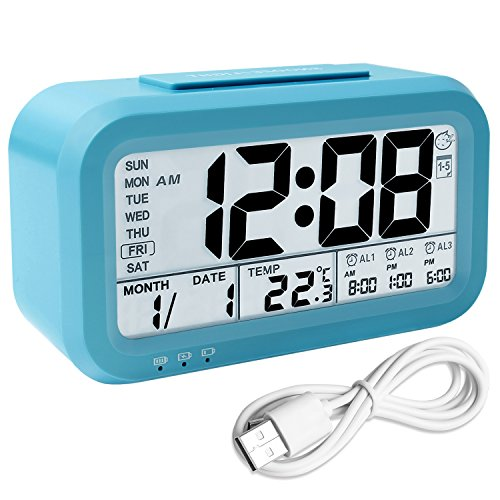 Digital Alarm Clock Rechargeable, Backlight LCD Morning Clock Travel Alarm Clock with 3 Alarms Thermometer Calendar Large Display Smart Light Snooze, Battery Operated with USB Charger (Blue)