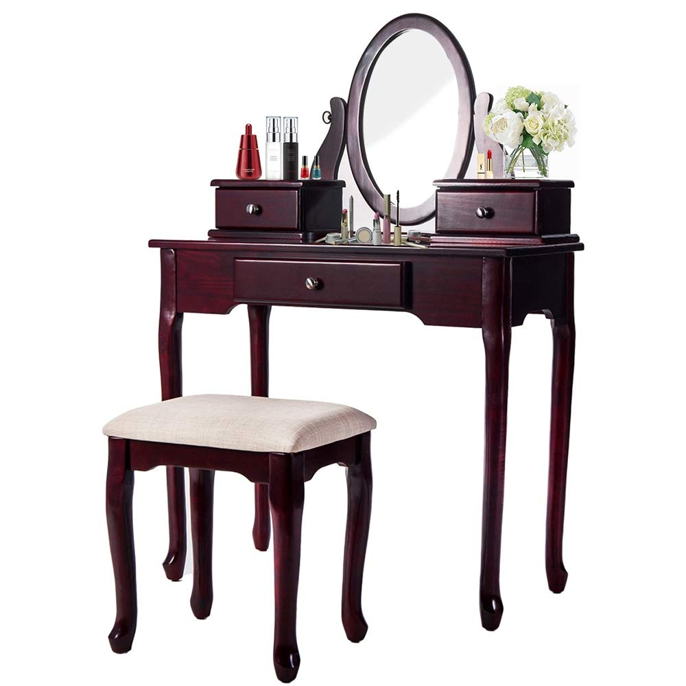 Vanity Set, Flip Top Mirror Makeup Dressing Table with Cushioned Stool and 3 Removable Drawers for Women/Girls, Cherry